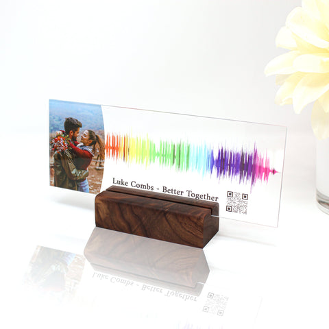 Sound gifts Sound wave art Custom sound wave 3D print Personal voice message or sound clip with Picture on premium clear acrylic glass block