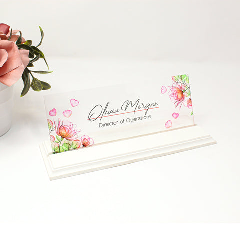 Personalized Name Plate for Desk, Flowers Design On Clear Acrylic Glass , Custom Office Decor Nameplate Sign, Personalized Gift