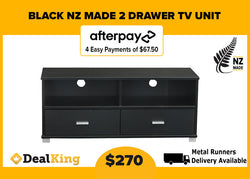 2 DRAWER NZ MADE TV UNIT BLACK