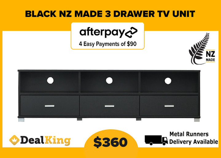 3 DRAWER NZ MADE TV UNIT BLACK