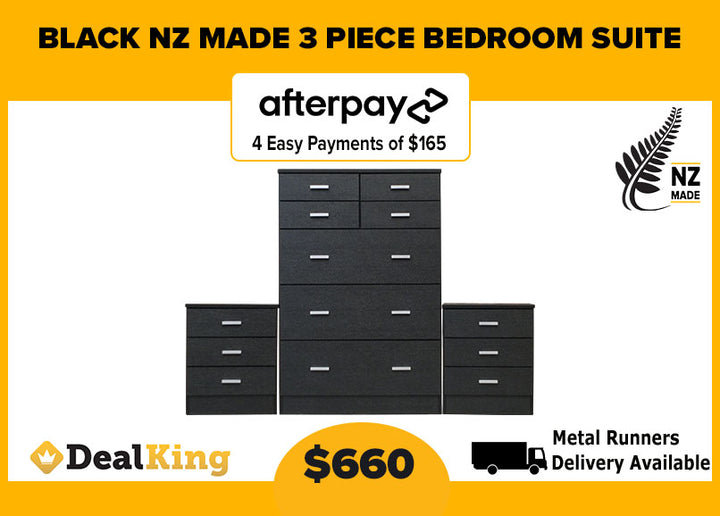 NZ MADE 3PC BEDROOM SUITE BLACK