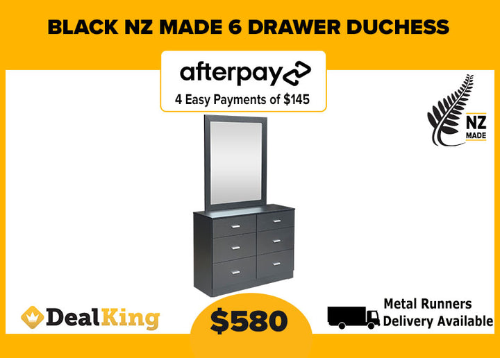 6 DRAWER NZ MADE DUCHESS BLACK