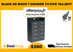 7 DRAWER TV/DVD NZ MADE TALLBOY BLACK