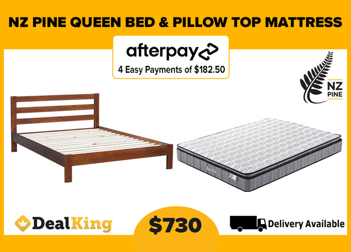 QUEEN NZ PINE SLAT BED & PILLOW TOP MATTRESS