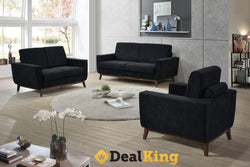 3 + 2 SEATER BLACK LOUNGE SUITE