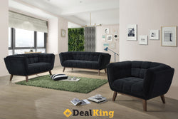 3 & 2 SEATER BLACK LOUNGE SUITE