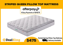 QUEEN POCKET SPRING PILLOW TOP MATTRESS 240MM THICK