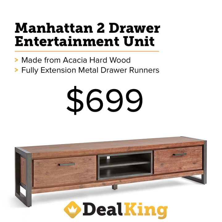 MANHATTAN 2 DRAWER ENTERTAINMENT UNIT LARGE