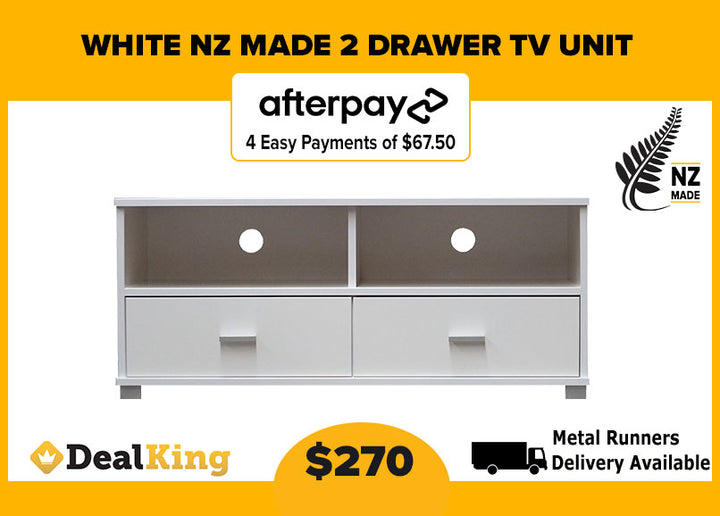 2 DRAWER NZ MADE TV UNIT WHITE