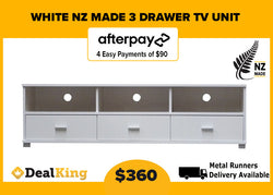 3 DRAWER NZ MADE TV UNIT WHITE