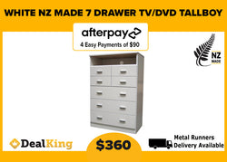7 DRAWER TV/DVD NZ MADE TALLBOY WHITE