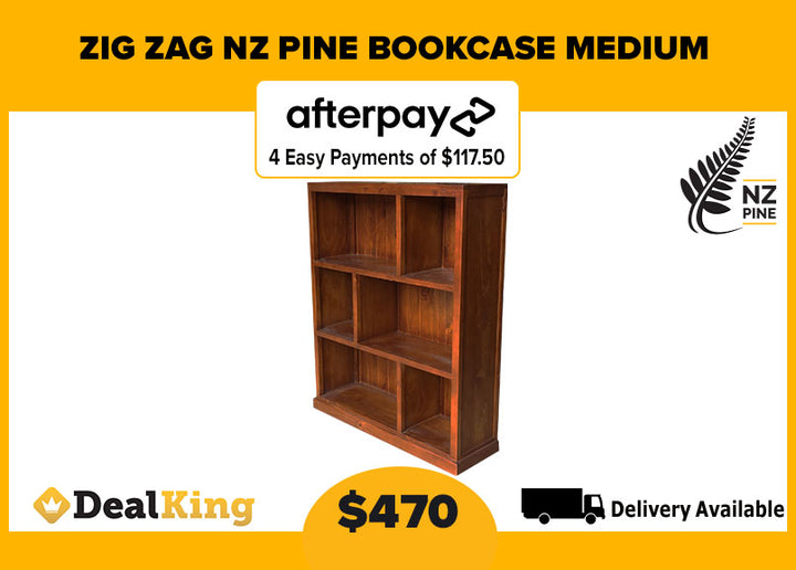 ZIG ZAG NZ PINE MEDIUM BOOKCASE