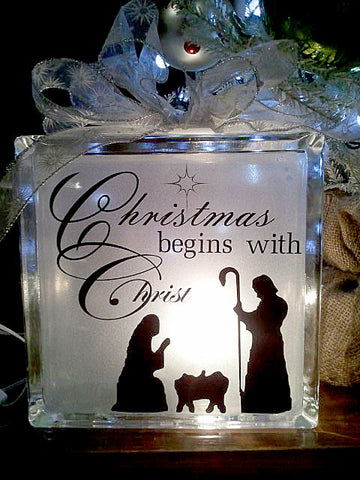 Christmas begins with Christ glass block
