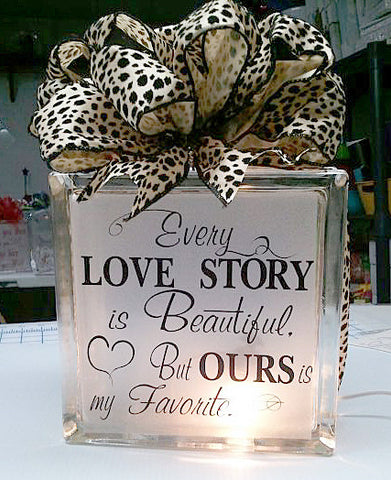 Every Love Story glass block
