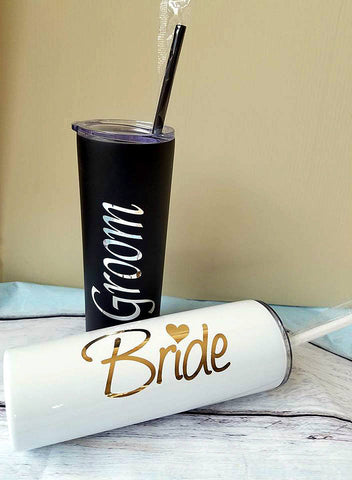 Bride and groom cups , stainless steel tumblers , wedding tumblers , stainless steel straw cups , wedding gift , bridal shower gift , straw