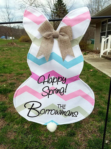 Bunny garden flag / Easter / spring garden flag / yard decoration / Personalized hanging bunny / outdoor decoration / custom outdoor decor