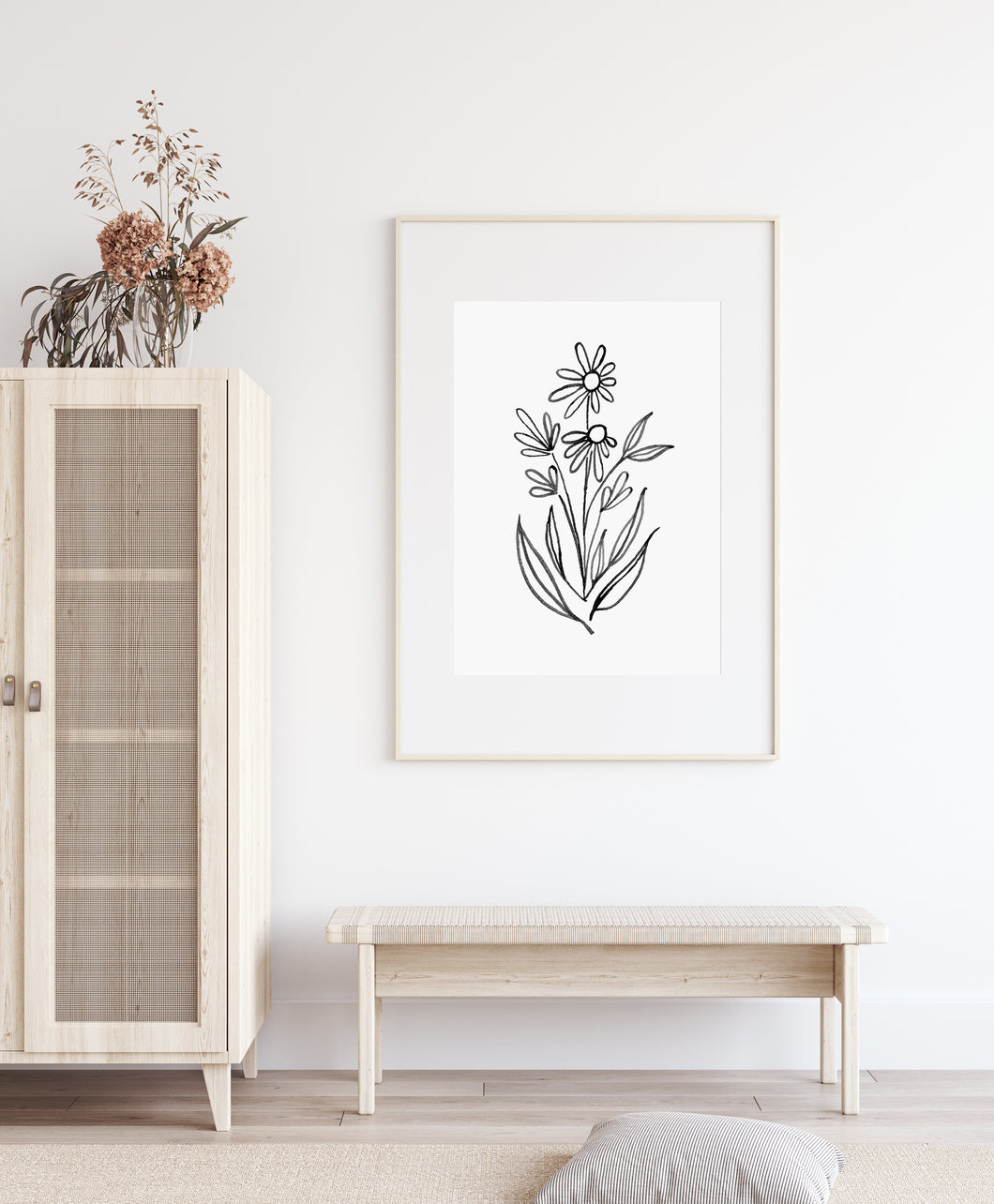 Black and White Florals Digital Print