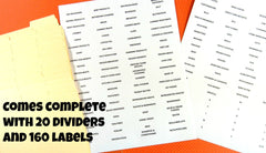 Coupon Organizer Index Cards and Labels
