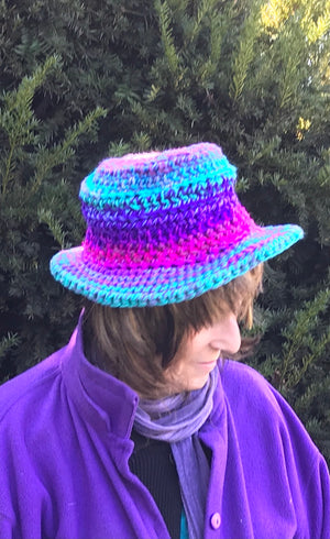 Fedora Style Hat - Ombre Purples, Green, Pink, Blue