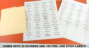 coupon organizer dividers labels