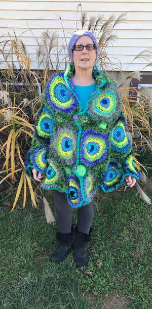 Peacock Poncho Shawl Jacket