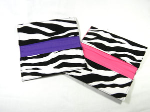 Checkbook Cover Zebra Print Fabric