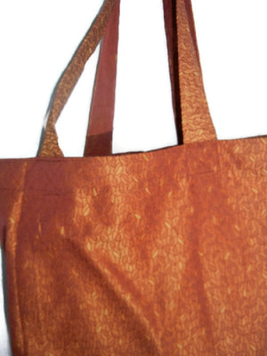 Grocery Market Bag Shiny Rust Upholstery Fabric