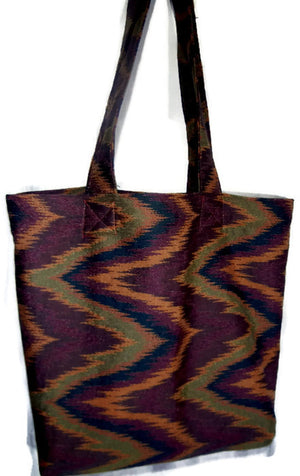 Grocery Market tote Bag Rust Olive Chevron Fabric