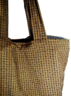 Market Tote Bag Tan Textured Upholstery Fabric