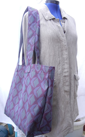 Market Tote Bag, Carry All Tote, heavy duty Purple Teal Upholstery Fabric
