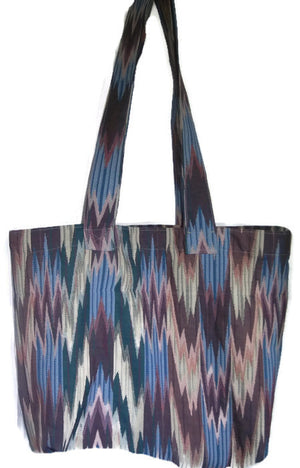 Fabric Grocery Bag Carry All Tote Bag Heavy Upholstery Chevron Style