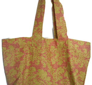 Fabric Grocery Bag Carry All Tote Bag Mustard Rust