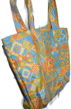 Fabric Grocery Bag Carry All Tote Bag Gold and turquoise