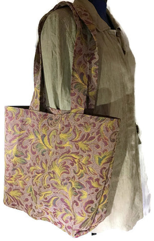 Market Grocery Carry All Tote Olive Burgundy