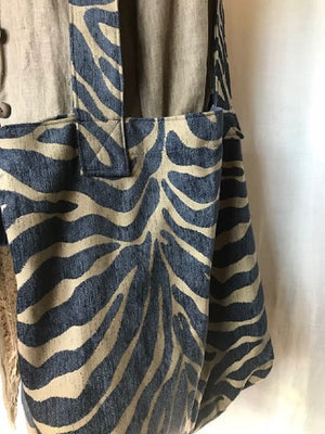 Market Grocery Tote Blue Tan Animal Print