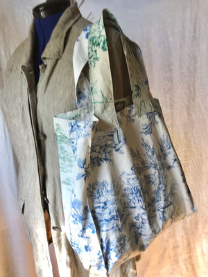 Grocery Market Tote Bag Toile in Green and Blue