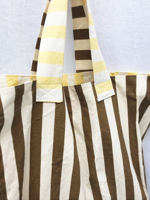 Market Bag Tote Yellow and Brown Stripes Carry all tote