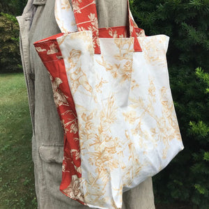 Carry All Tote Bag Toile Home Decor Vintage Fabric in Rust and Beige