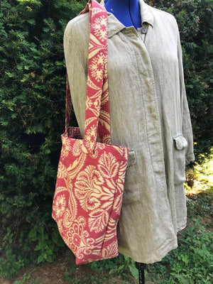 Carry All Market Grocery Tote Bag Damask Rust and Creme