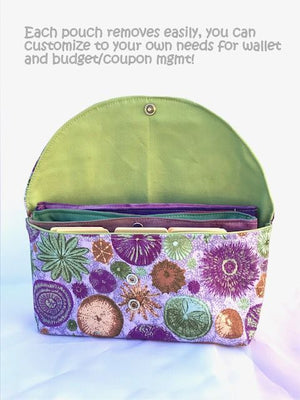 Wallet Organizer System Purple Green Beachy