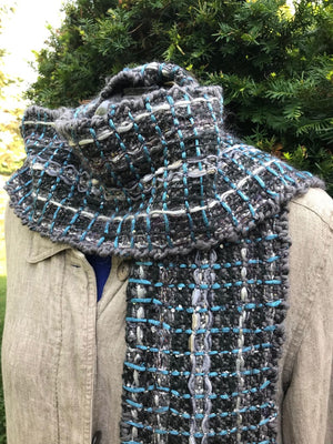 Woven Scarf Black Silver turquoise Amplifier Scarf