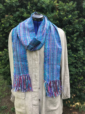 Woven Scarf Cotton Soft Blue Silk Wool Cotton Blend