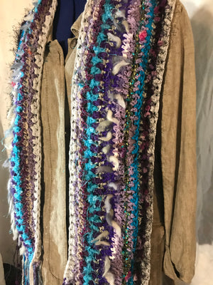 Crocheted Scarf Blue Gray Purple Art Yarn