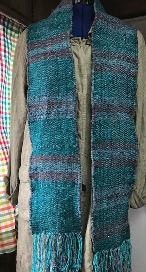 Woven Scarf Teal and Mulberry Soft Wool Blend