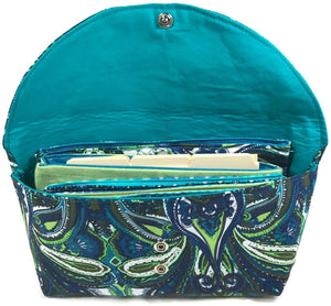 Wallet Organizer Complete System Blue Paisley