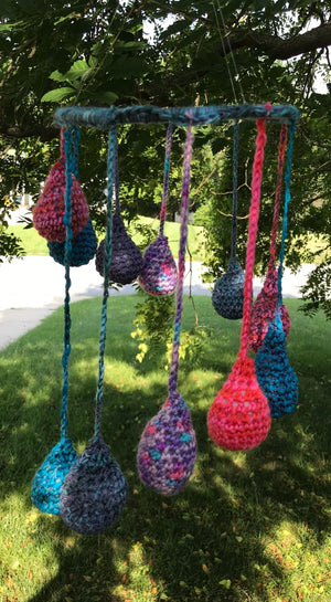 Hanging Mobile Raindrops Teardrops in Blues Purples and Pinks