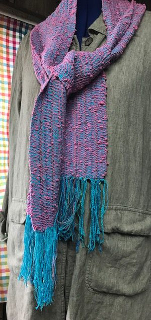 Woven Scarf Cotton Boucle Turquoise and Pink Cotton Candy