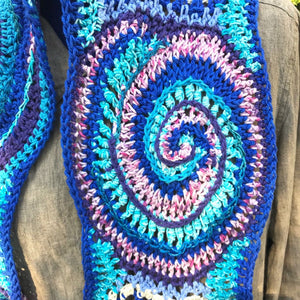 Free Form Crochet Scarf in Blues Purple and Pink