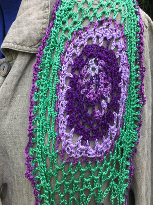Purple Green Mandala Scarf Embroidery Floss Hand Woven