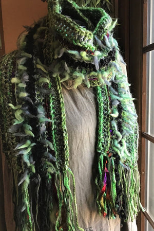 Crocheted Scarf Green with Black Accent Art Yarns